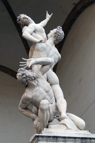 The sculpture by Giambologna (1579–1583). The Rape is supposed to have occurred in the early history of Rome, shortly after its founding by Romulus and his mostly male followers. Seeking wives in order to found families, the Romans negotiated unsuccessfully with the Sabines, who populated the area. Fearing the emergence of a rival society, the Sabines refused to allow their women to marry the Romans. Consequently, the Romans planned to abduct Sabine women. Loggia dei Lanzi, Florence