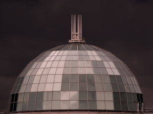 This is the dome of a shopping mall in Livingston Scotland - offering some lovely silvery contrast to the imminent downpour.