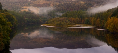 At Loch Faskally on the River Tummnel heading in to Pitlochry - with the first signs of Autumnal change
