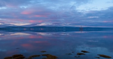 A becalmed view stretching across the Cromarty Firth from the Black Isle to Invergordon. A mere 24 hours on from the Spring Tide storms.
