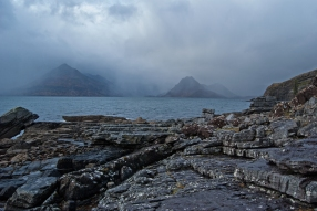 I thought it only right and proper to share the other side of Skye (the we dont often have sunny days here Skye) this image was captured about 10 hours prior to Elgol 50 which allows for some compare and contrast. The shot is slightly further up the beach but in essence it is the same view (just a little tighter) the mountains had been drifting in and out of cloud - but on this occasion i liked the fact that you could see just the hills and cloud obscures the rest of the view. The challenge here was keeping the lens dry.... Enjoy