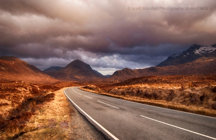 I tend to remove all trace of human impact on the environment but on this occasion the road was my main focus to lead you through the landscape and allow you to feast your eyes on the sumptuous light - It could be almost anywhere in Scotland but this happens to be Skye