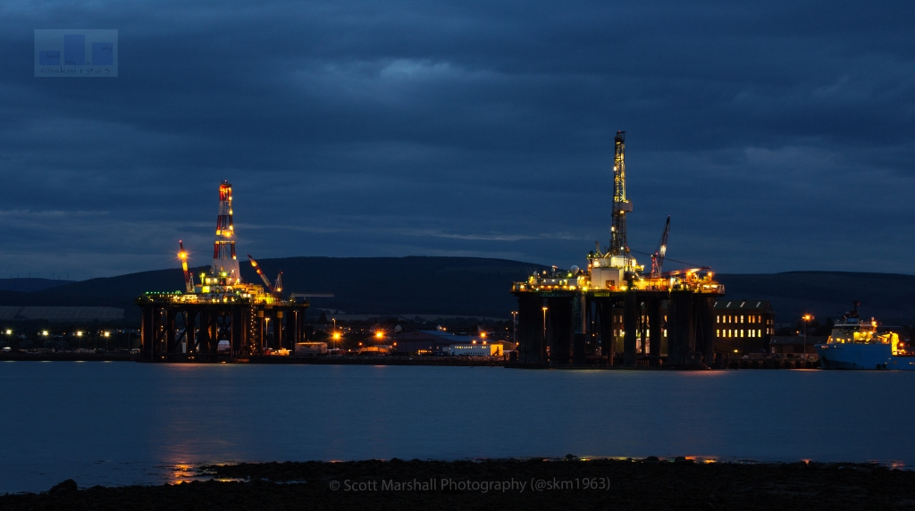 Well as we head towards the long dark nights of the Scottish Autumn - I thought this was an appropriate shot. Invergordon and Nigg Bay have serviced numerous Oil and Gas Rigs during the North Sea Oil boom years - which naturally followed by a decline however more recently with the renewable's market - the energy sector is generating work again so this image hopefully shows there is beauty in all things even industry and just perhaps we are slowly heading out of recession.