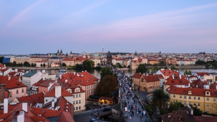 Prague Rooftop Twilight