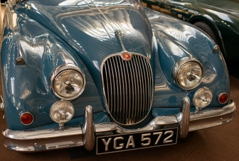 The Grill and Badges of the classic Jaguar XK150. YGA 572